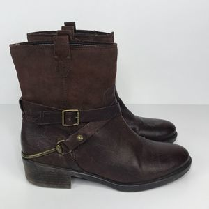 Franco Sarto Brown Beacon Distressed Leather Boots